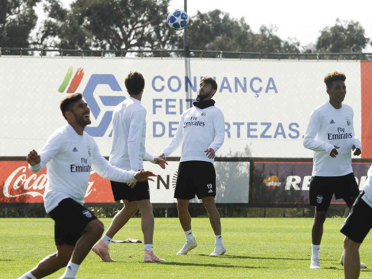 Treino do plantel do Benfica antes do jogo com o Ajax
